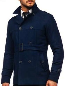 Granatowy płaszcz męski Denley z bawełny