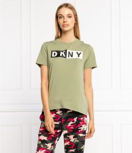 Bluzka DKNY z krótkim rękawem z bawełny z okrągłym dekoltem