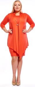 Czerwona sukienka Fokus z długim rękawem