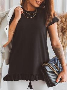 Czarny t-shirt SELFIEROOM z bawełny z okrągłym dekoltem
