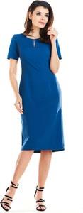 Sukienka Awama z krótkim rękawem dopasowana midi