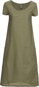 Zielona sukienka bonprix RAINBOW z lnu