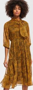 Brązowa sukienka Reserved z długim rękawem koszulowa