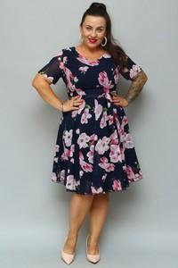 Sukienka KARKO z krótkim rękawem z szyfonu