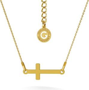 GIORRE SREBRNY NASZYJNIK KRZYŻYKIEM POZIOMYM GRAWER 925 : Kolor pokrycia srebra - Pokrycie Żółtym 24K Złotem