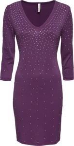 Fioletowa sukienka bonprix BODYFLIRT boutique w stylu casual z długim rękawem