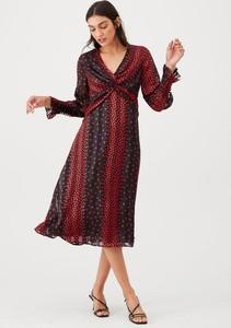 Czerwona sukienka V by Very z długim rękawem midi