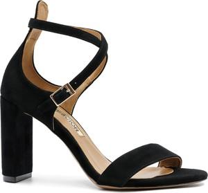 Czarne sandały Neścior z zamszu w stylu klasycznym na wysokim obcasie