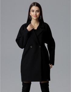 Czarny płaszcz Figl w stylu casual z tkaniny