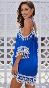 Niebieska tunika noshame w stylu casual z długim rękawem