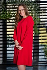 Czerwona sukienka tono.sklep.pl z okrągłym dekoltem z długim rękawem w stylu casual