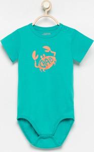 Turkusowe body niemowlęce Reserved z bawełny