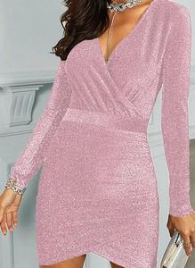 Sukienka Arilook z dekoltem w kształcie litery v w stylu casual z długim rękawem