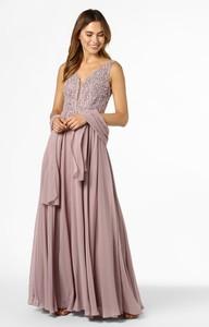 Sukienka Unique rozkloszowana z dekoltem w kształcie litery v z szyfonu