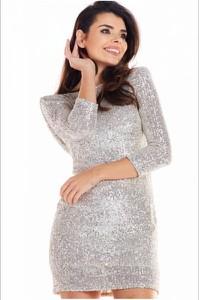 Srebrna sukienka Awama z długim rękawem
