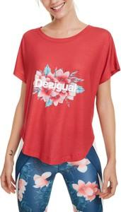 Różowy t-shirt Desigual z krótkim rękawem