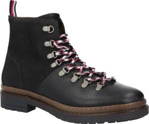 Buty zimowe Tommy Hilfiger w stylu casual sznurowane ze skóry