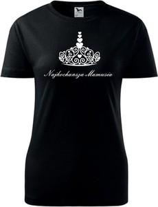 Czarny t-shirt TopKoszulki.pl z krótkim rękawem z bawełny