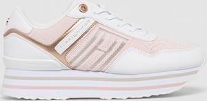 Buty sportowe Tommy Hilfiger na platformie ze skóry ekologicznej sznurowane