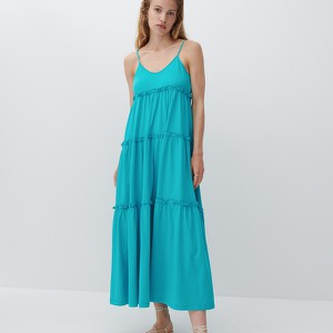 Sukienka Reserved na ramiączkach z bawełny z dekoltem w kształcie litery v