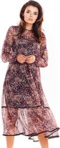 Sukienka Awama z szyfonu w stylu casual z okrągłym dekoltem
