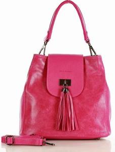 Różowa torebka MAZZINI ze skóry w stylu boho