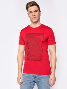 Czerwony t-shirt Trussardi Jeans z krótkim rękawem