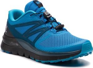 d9321de6 Niebieskie buty sportowe Salomon sznurowane w sportowym stylu ze skóry  ekologicznej
