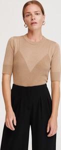 Brązowa bluzka Reserved z okrągłym dekoltem w stylu glamour