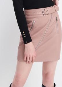 Różowa spódnica Mohito ze skóry mini