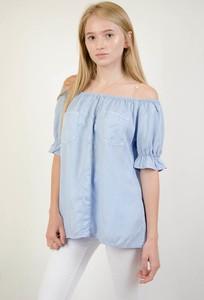 Niebieska bluzka Olika z krótkim rękawem