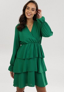 Zielona sukienka born2be mini z dekoltem w kształcie litery v