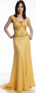 Żółta sukienka Fokus z dekoltem w kształcie litery v maxi bez rękawów