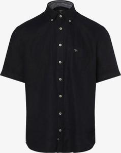 Brązowa koszula Fynch Hatton z krótkim rękawem z lnu
