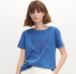 Granatowy t-shirt Reserved z okrągłym dekoltem z dzianiny w stylu casual