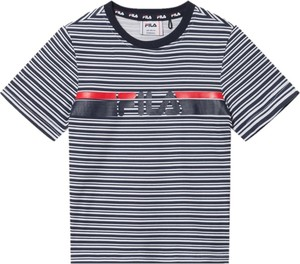Granatowa koszulka dziecięca Fila z krótkim rękawem w paseczki dla chłopców