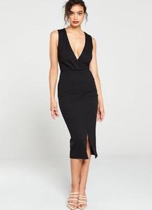 Czarna sukienka V by Very midi z dekoltem w kształcie litery v
