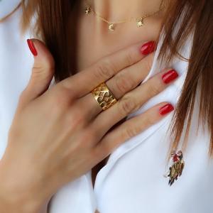 """coccola.pl Złoty pierścionek obrączka """"ażurowa"""" szeroka - srebro 925 pozłacane"""