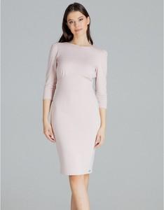 Różowa sukienka LENITIF z długim rękawem dopasowana