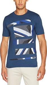 Niebieski t-shirt amazon.de z nadrukiem z krótkim rękawem
