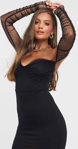 Czarna sukienka Asos z żakardu mini bandażowa