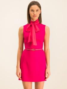 Różowa sukienka Elisabetta Franchi mini z golfem