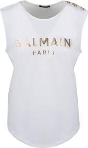 Bluzka Balmain z okrągłym dekoltem