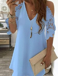 Niebieska sukienka Kendallme trapezowa mini z bawełny