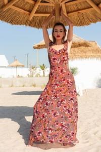 Sukienka MERRIBEL z długim rękawem z bawełny z dekoltem w kształcie litery v