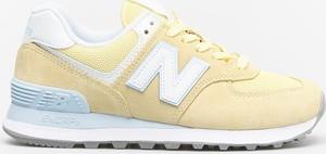 Buty sportowe New Balance z płaską podeszwą sznurowane ze skóry