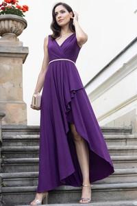 Fioletowa sukienka Maravilla Boutique na ramiączkach asymetryczna