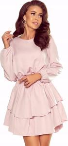 Sukienka NUMOCO z okrągłym dekoltem z długim rękawem mini