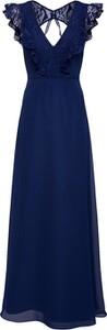 Granatowa sukienka Swing maxi trapezowa z dekoltem w kształcie litery v