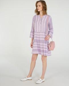 Fioletowa sukienka Unisono z długim rękawem mini